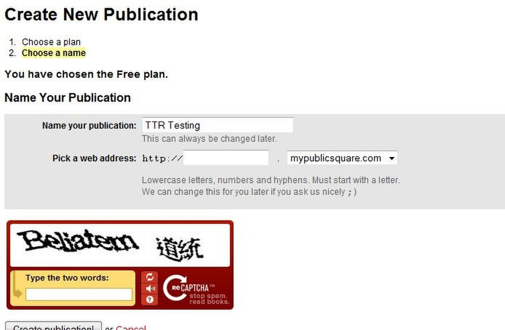 This image displays the first steps of creating a site with PublicSquare. You can choose your own URL.