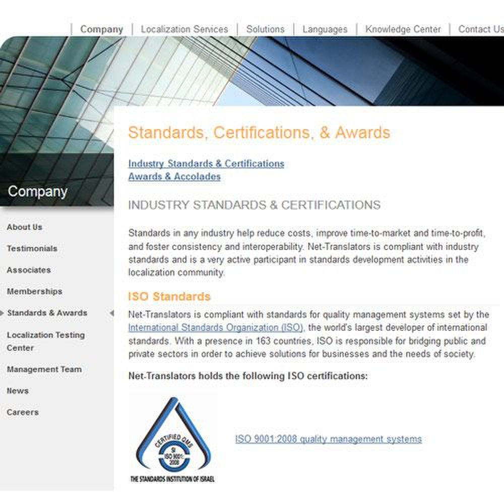 Net-Translators image: Certifications include compliance to ISO Standards.
