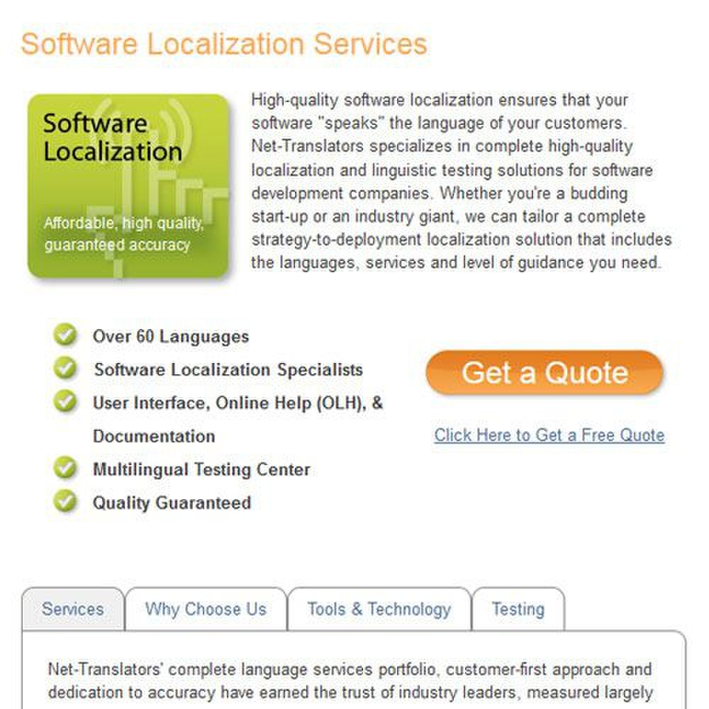 Net-Translators image: Software localization is a strong specialty.