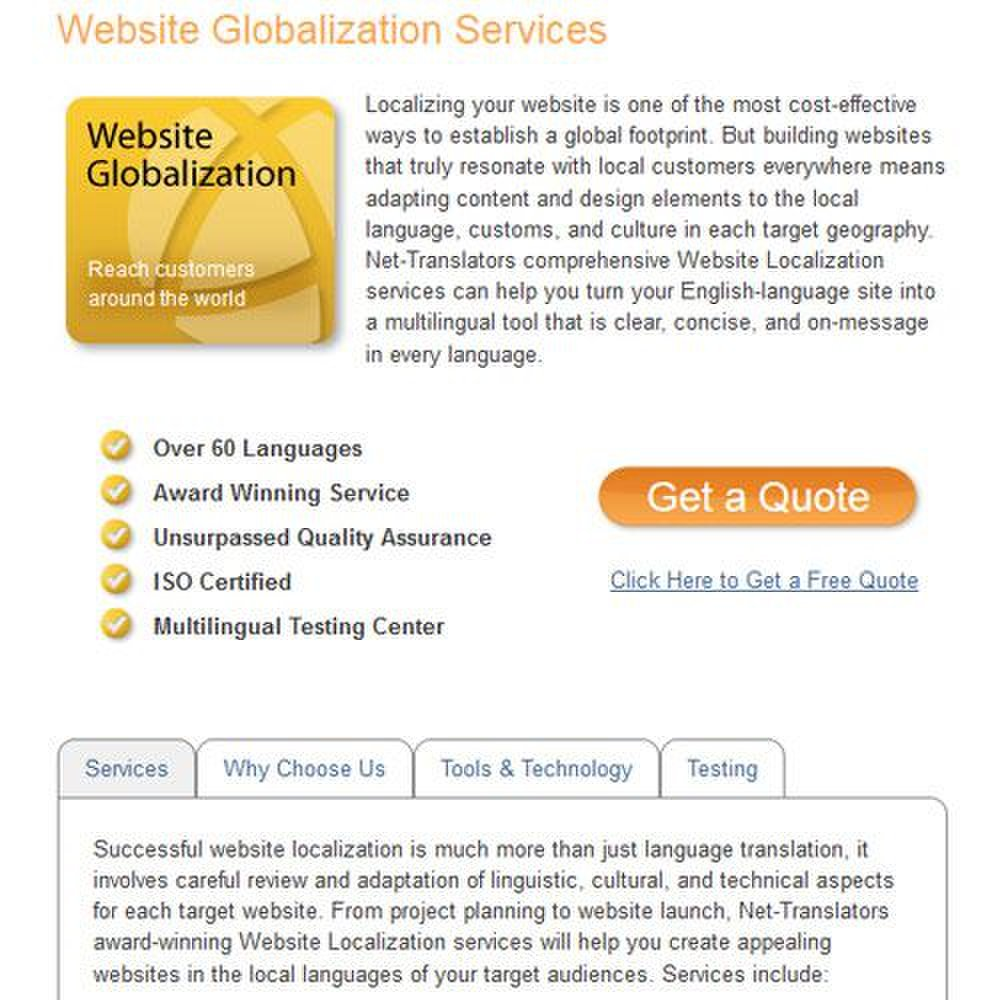 Net-Translators image: Website translation and globalization makes sites more meaningful to customers in the area served.