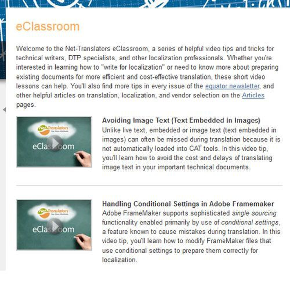 Net-Translators image: The Knowledge Center includes an eClassroom.