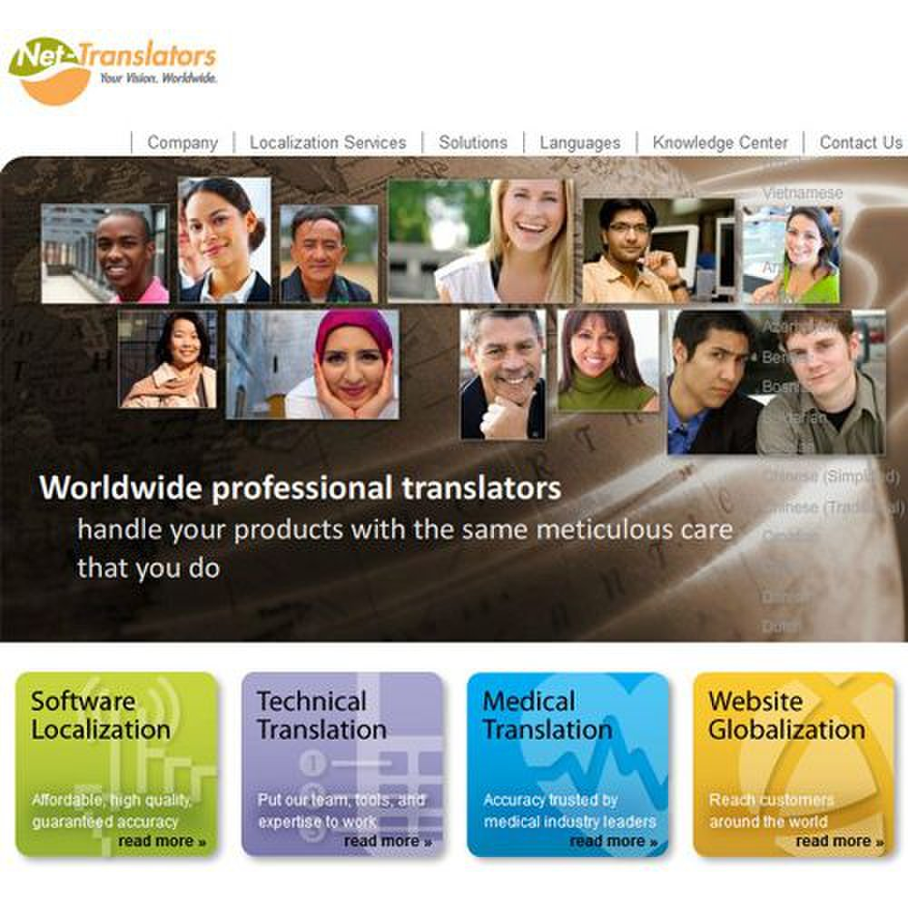 Net-Translators image: The homepage shows some of the translation specialties.