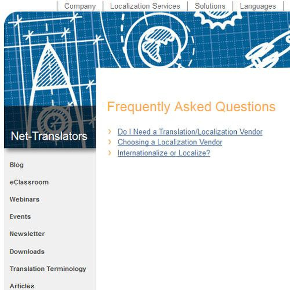Net-Translators image: A blog, FAQs, a newsletter and translation terminology are all offered.