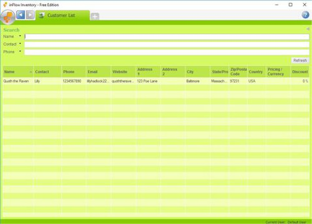inFlow image: This software lets you store customer information in a customer list database.