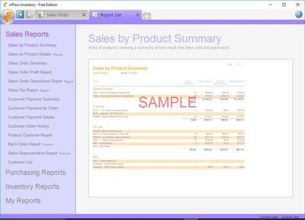 inFlow image: inFlow offers various reports, including profit, payments, order and product reports.