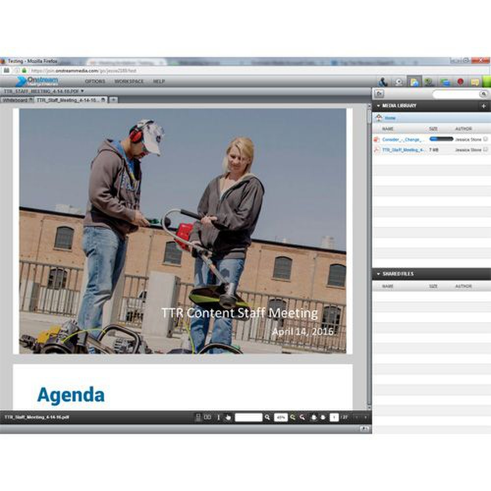 Onstream Meetings image: The media library allows attendees to access downloaded content throughout the meeting.