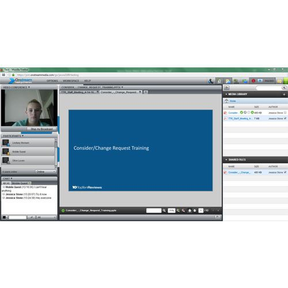 Onstream Meetings image: You can customize the workspace to emphasize the tool you are using the most. For example, you can have your webcam, a slideshow or the chat toolbar on prominent display depending on what you are using.