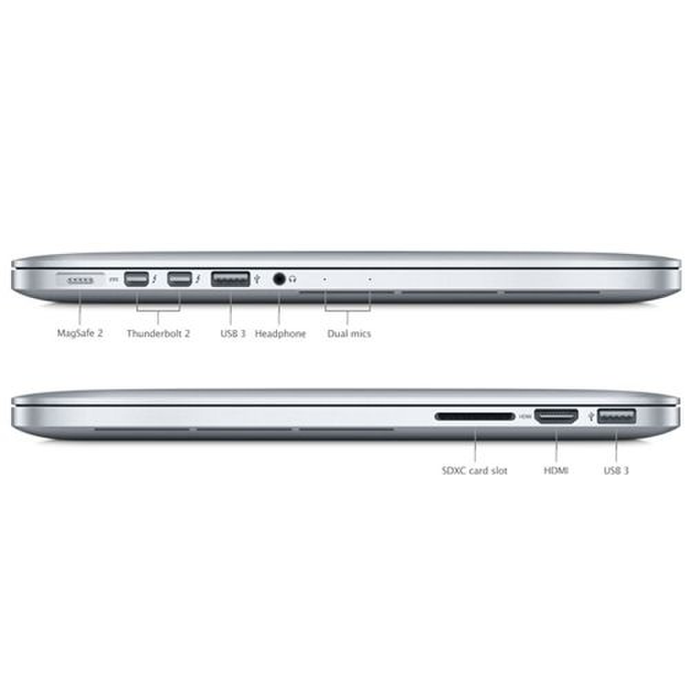 Apple MacBook Pro 15 image: The port selection on the laptop includes a full-size SD card slot, HDMI output, two USB 3.0 ports and a pair of Thunderbolt 2 ports.