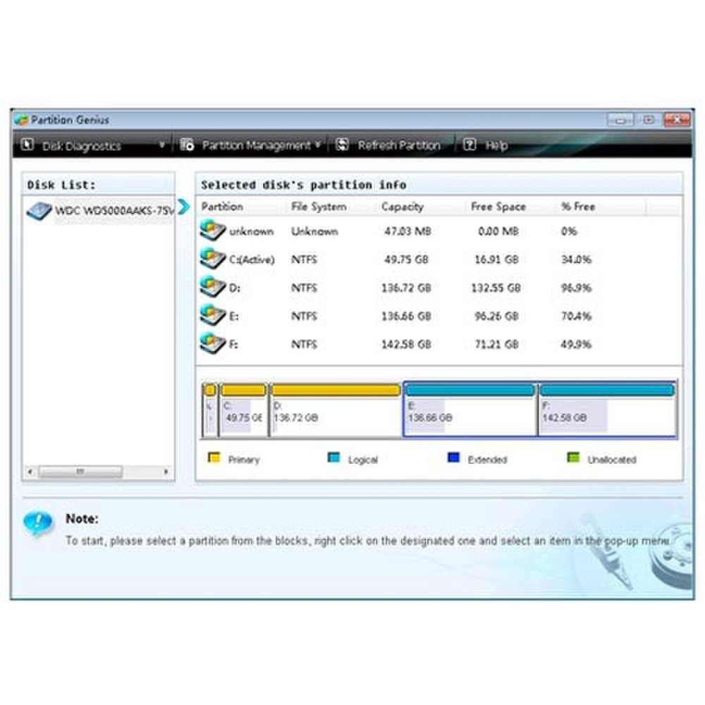 This image shows the partition genius on the Spotmau PowerSuite.