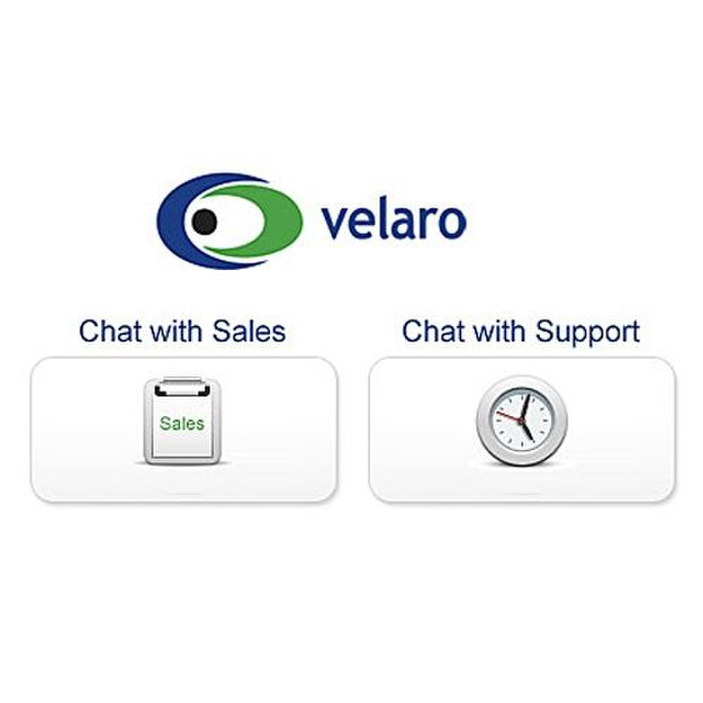 Velaro image: On the Velaro customer support homepage, you have the option to chat with a representative from sales or support.