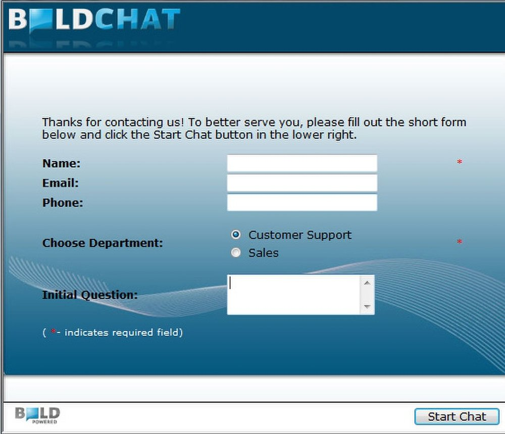 BoldChat: In this image you will see an example of a pre-chat survey.