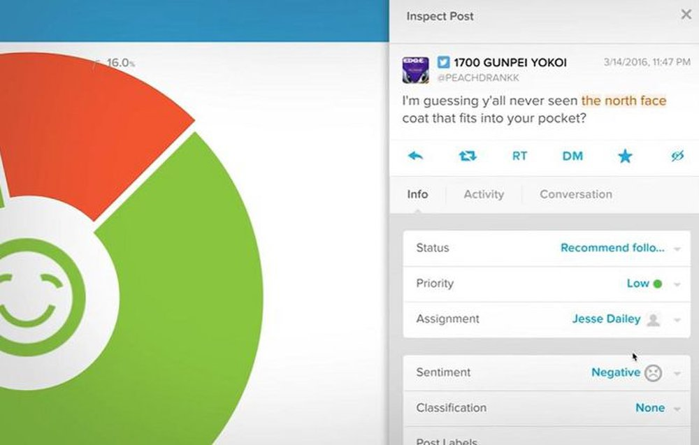 Salesforce image: You can click on sentiment to see the posts and respond to them.