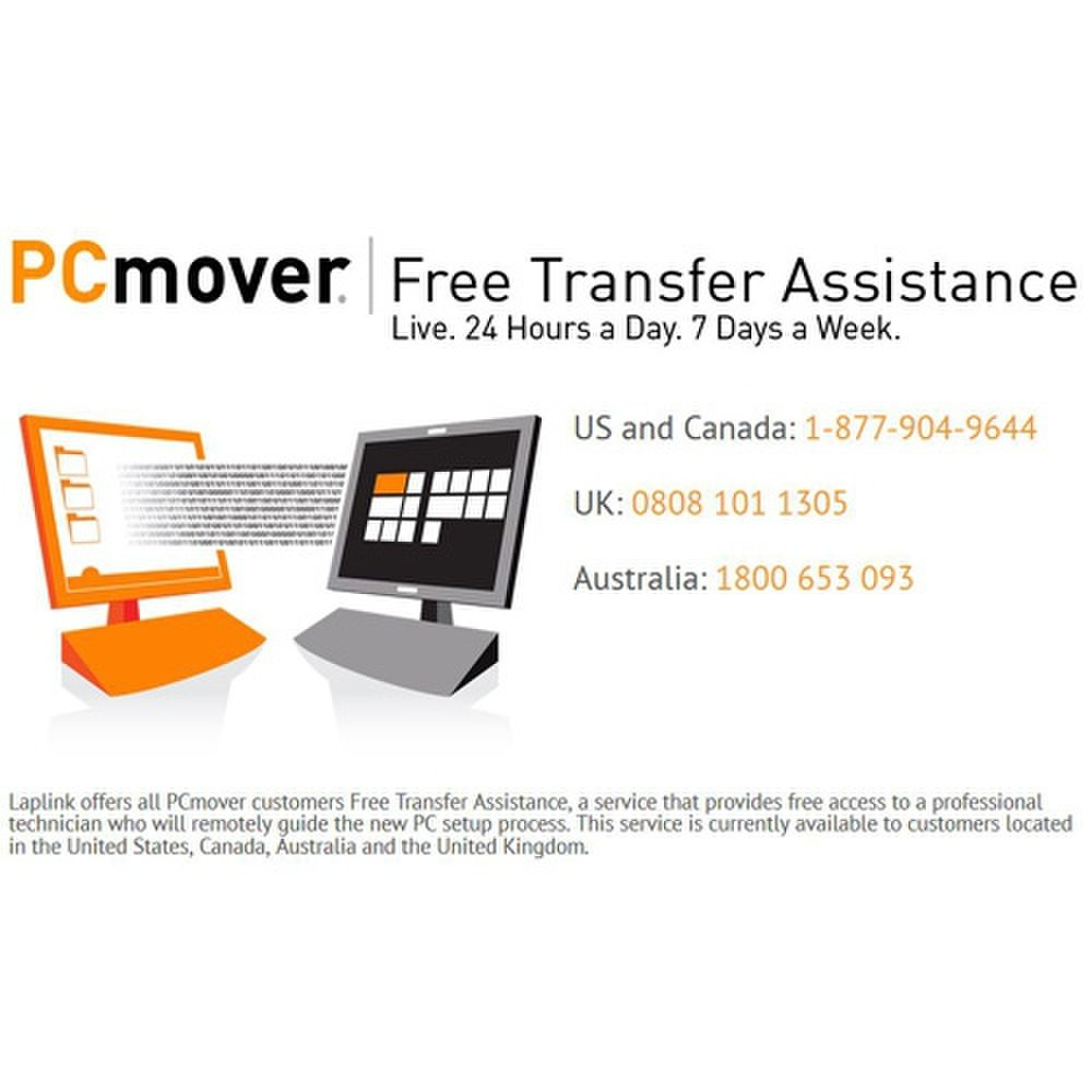 Laplink offers free transfer assistance with PCmover, so you can get help 24/7 over the phone.