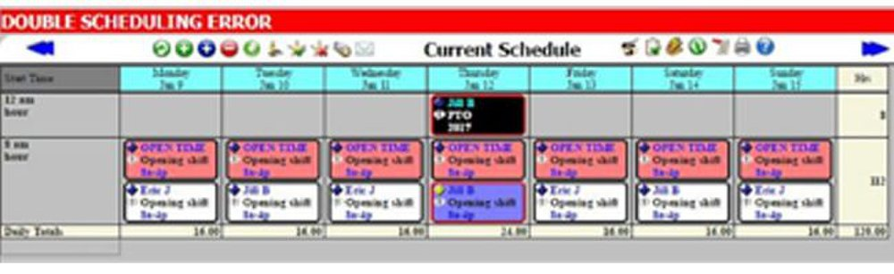 Workschedule.Net image: The system alerts you if you make a scheduling error like double-scheduling an employee, but it does not prevent it.
