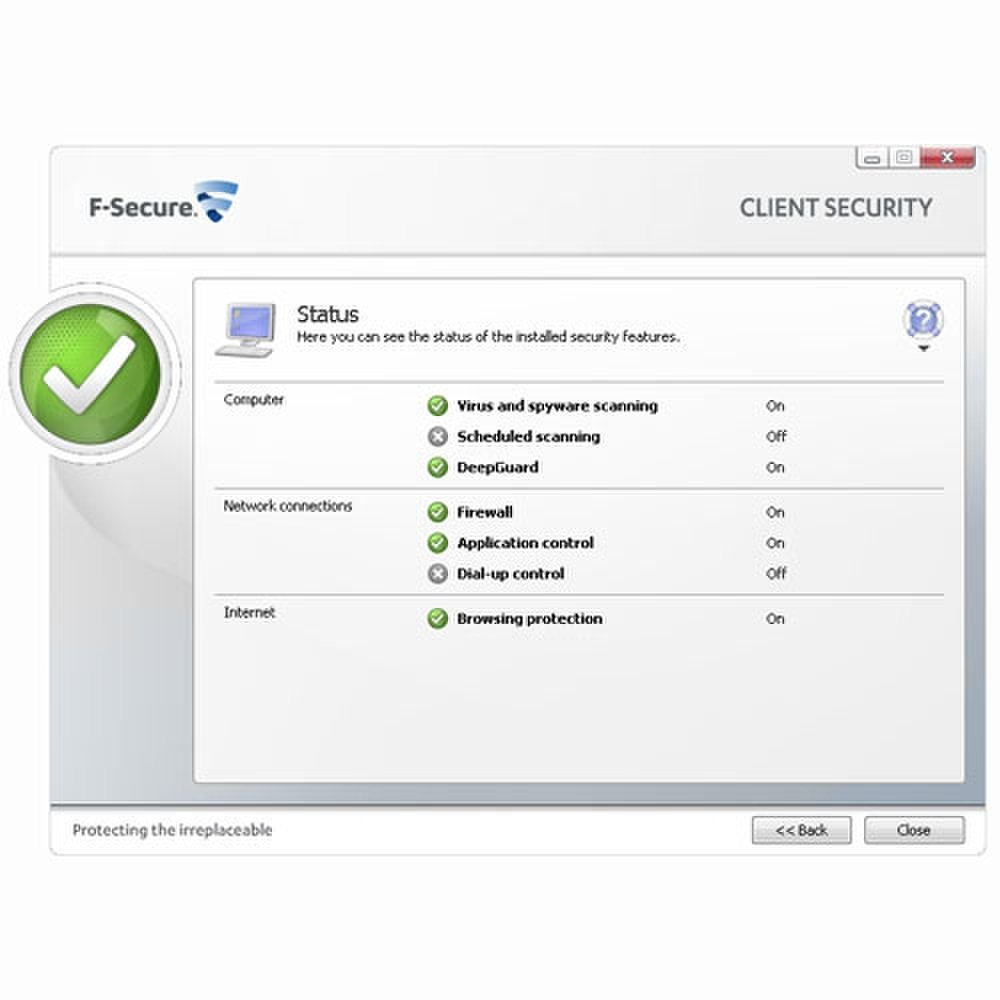 F-Secure Business Suite screenshot image: detailed status information