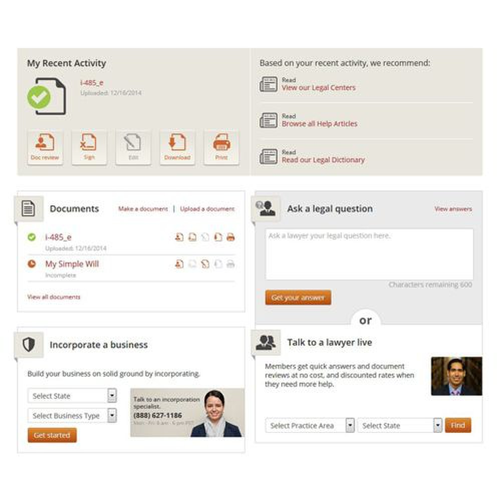Rocket Lawyer image: Your personal dashboard has the forms and support you need in one place.