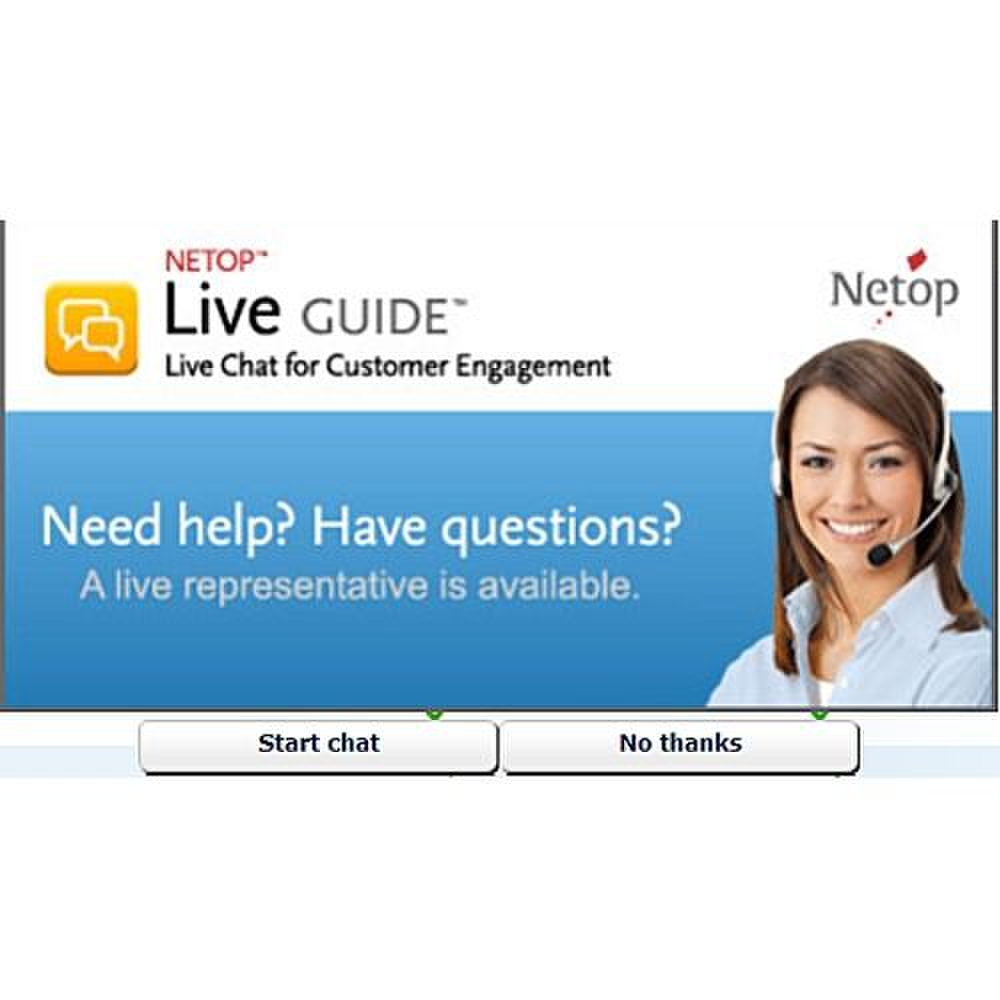 Netop Live Guide image: A proactive chat invitation lets customers know you are ready to help.