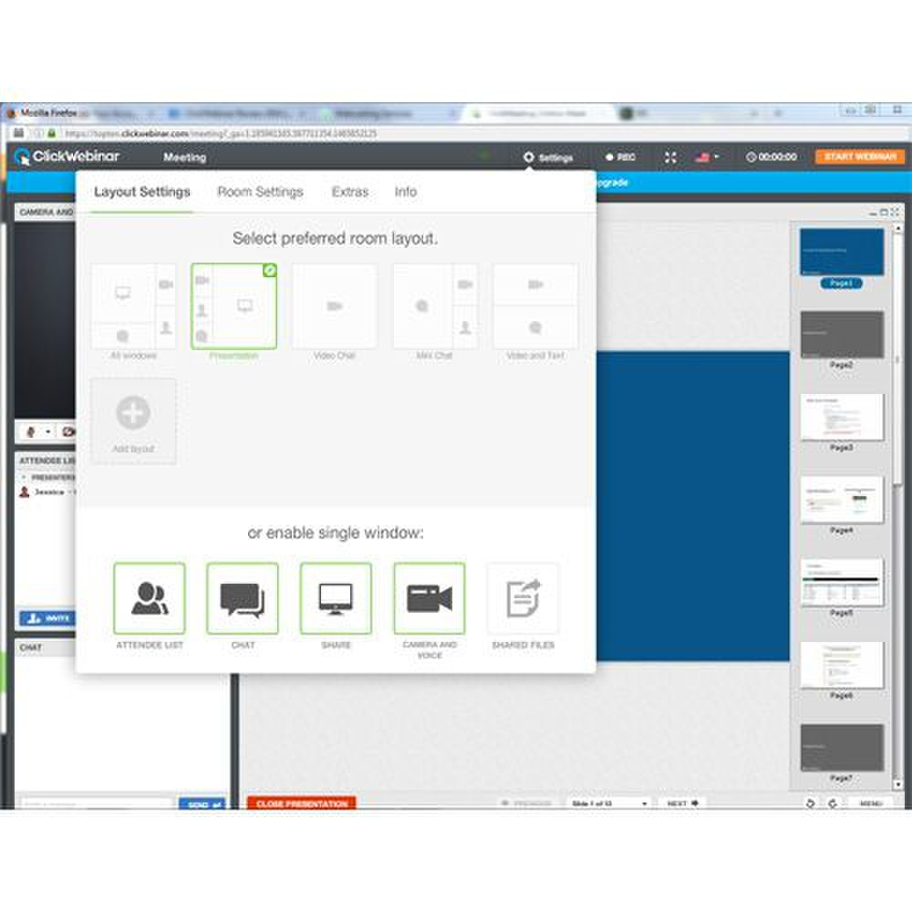 ClickWebinar image: You can alter the layout of the room to fit your presentation style.