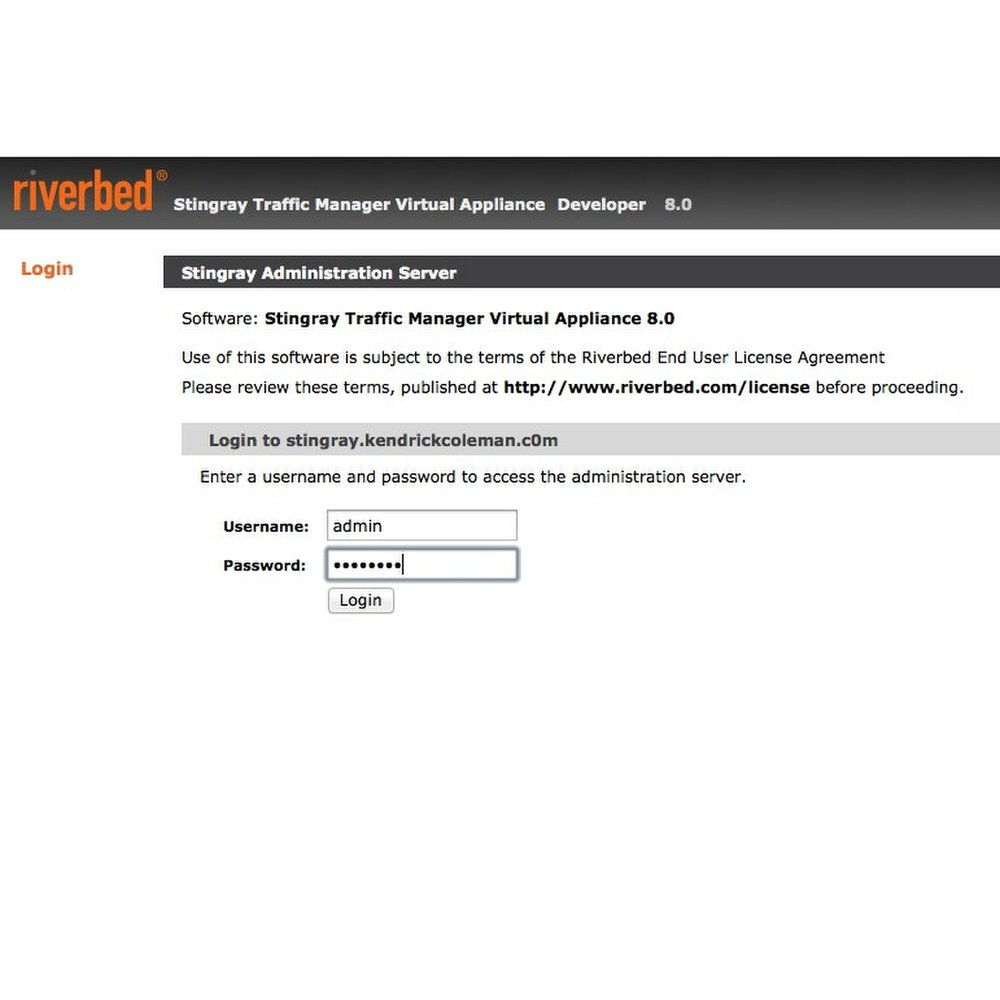 This image shows the website security and performance service Stingray Traffic Manager. Here you can see the login screen.
