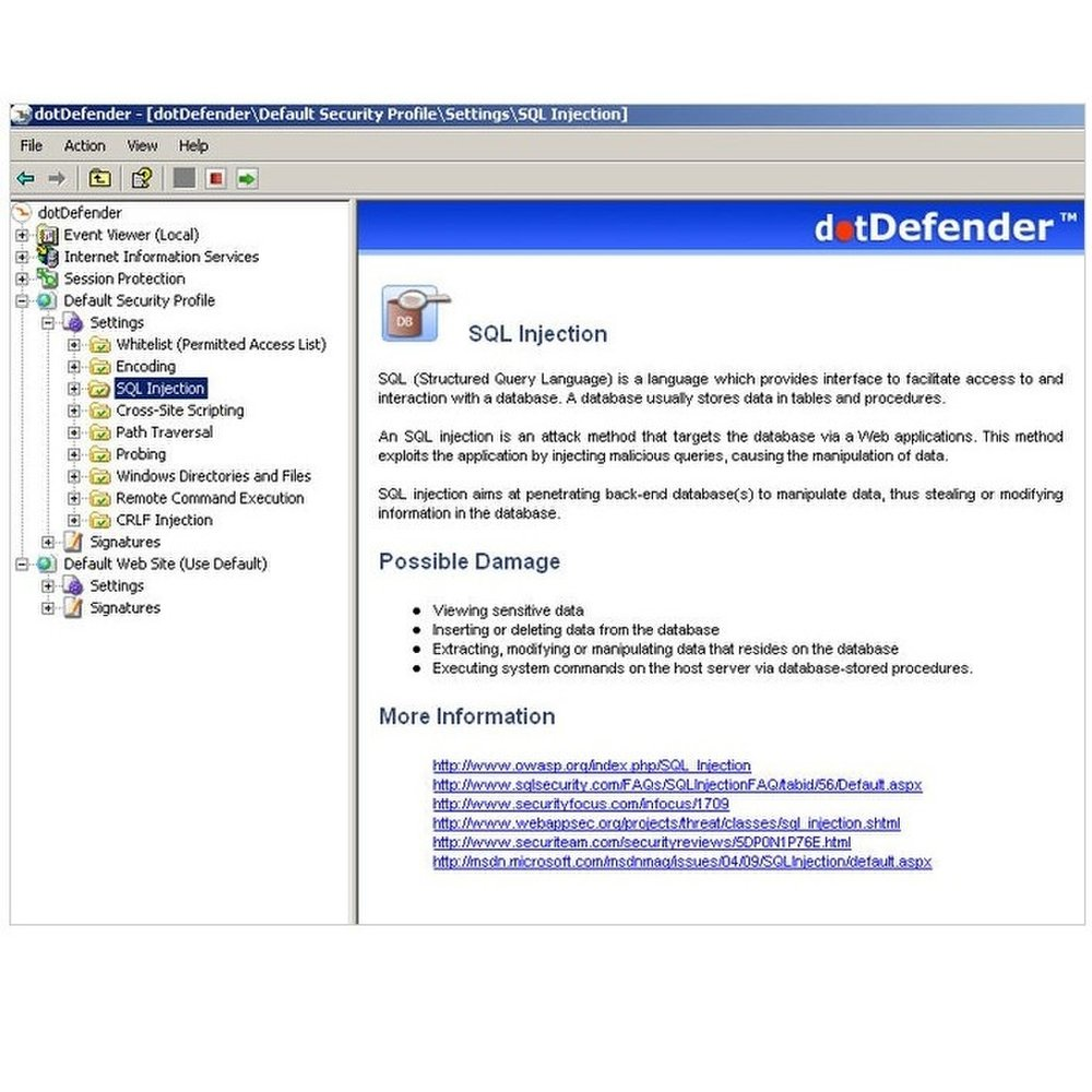 This image shows the website security and performance service dotDefender. Here you can see the information it has on SQL injection.