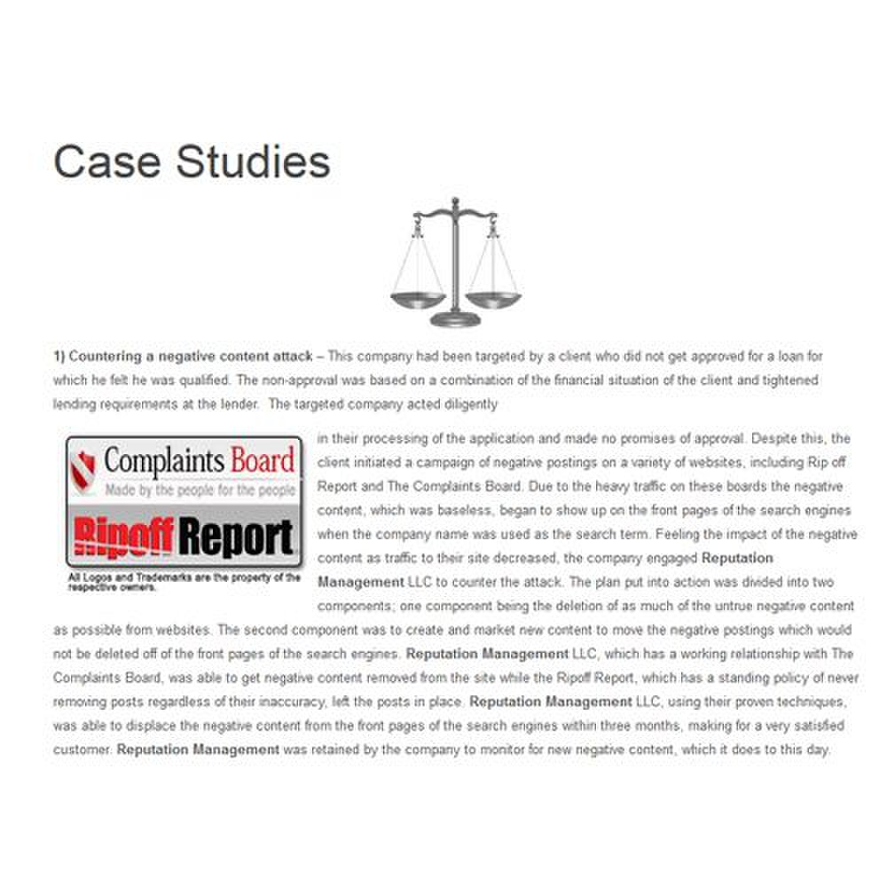 Reputation Management LLC image: While the case studies don't disclose  company names, it details the services provided.