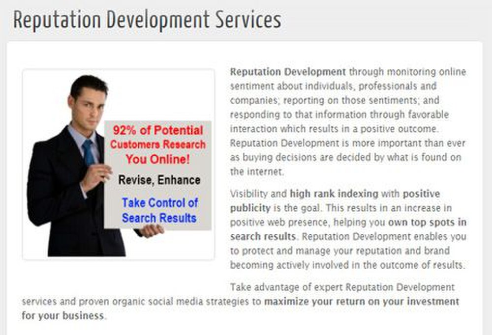 You can hire this company to help you develop your reputation as well as repair it.