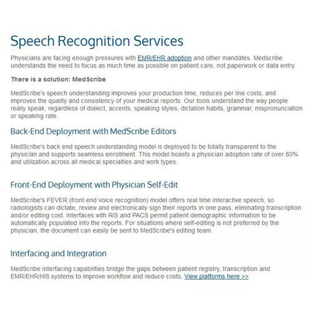 MedScribe image: MedScribe also offers front-end and back-end speech recognition services to aid in medical transcription for clinics.