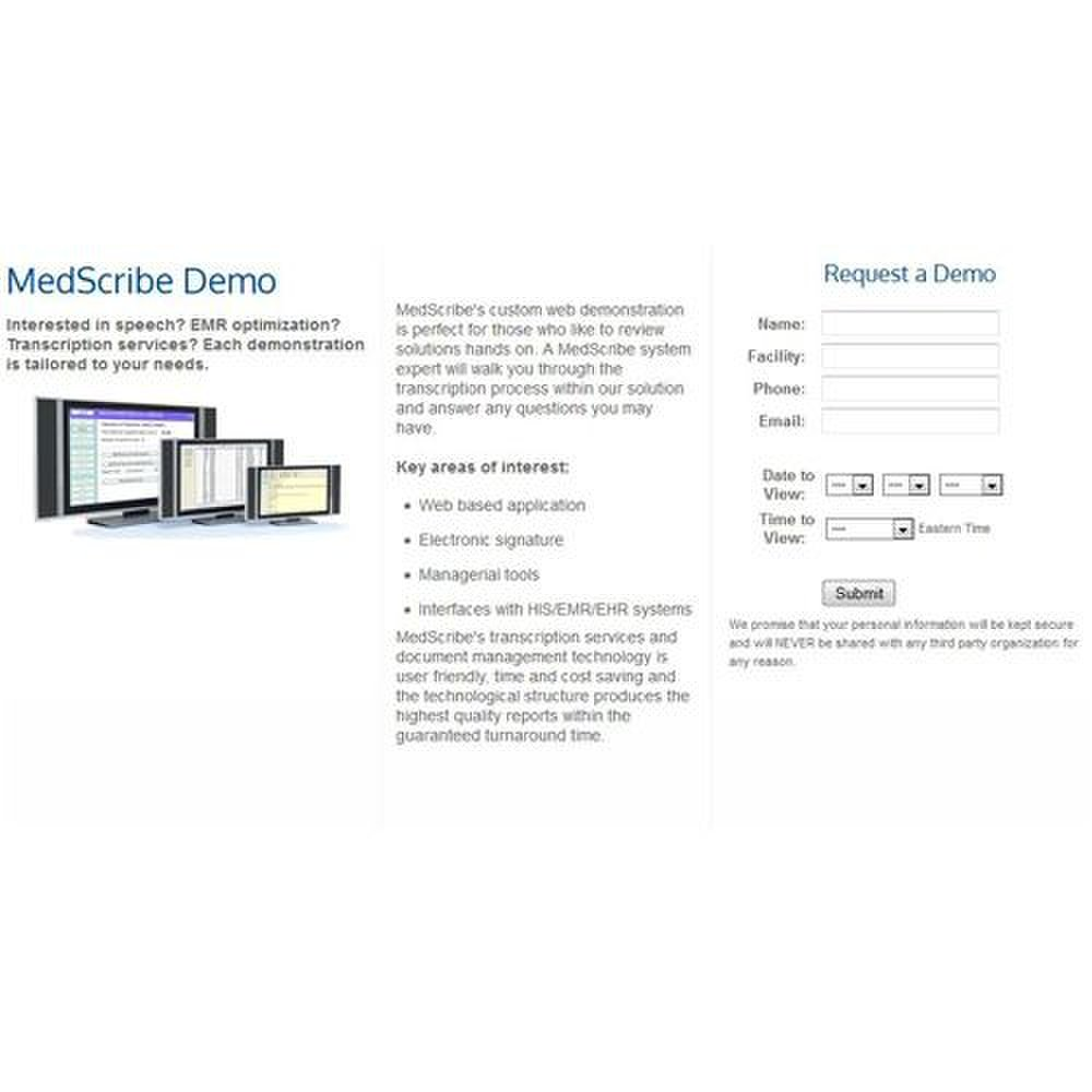MedScribe image: You can request a personalized live demo of MedScribe's transcription system.