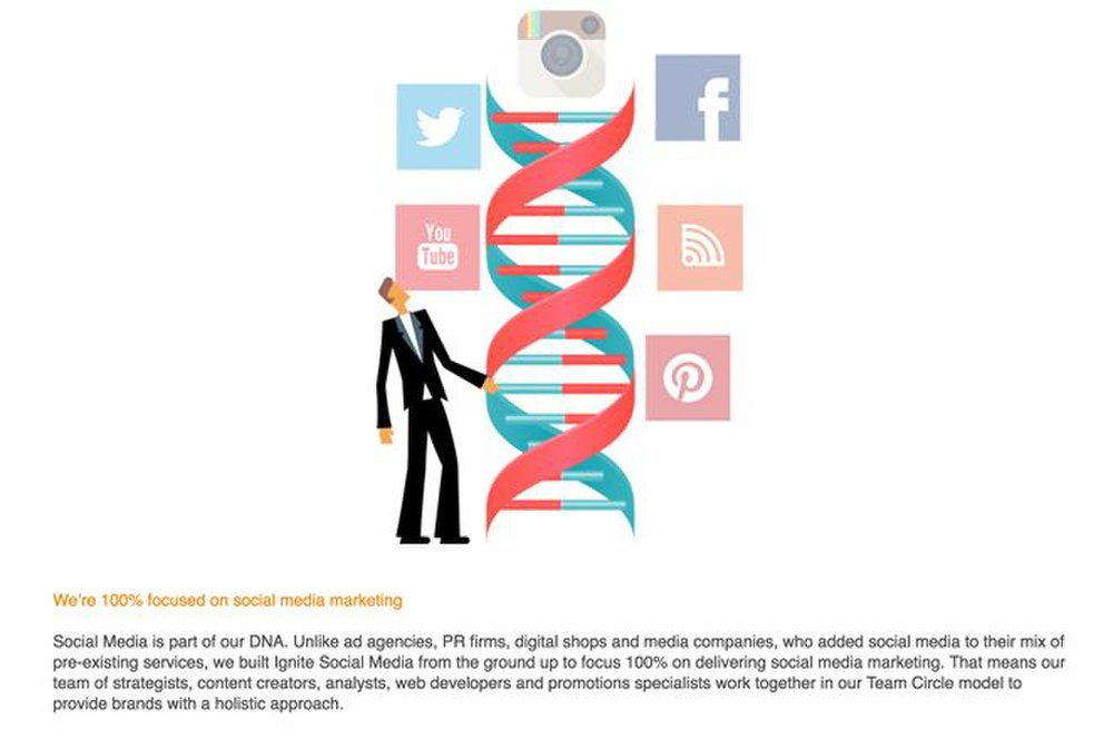 Ignite image: Social media marketing is the only service Ignite offers.