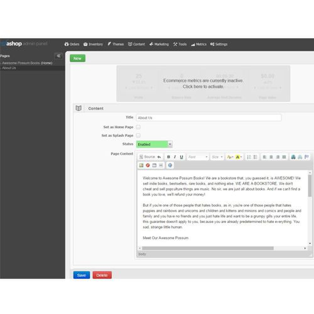 Customizing text on your website's pages is intuitive and straightforward.
