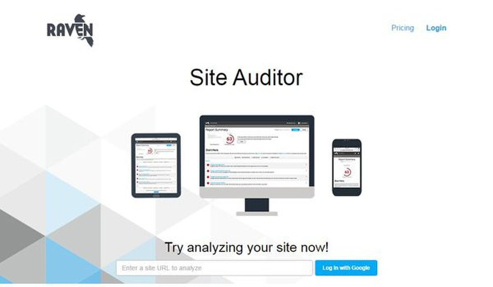 Raven Tools image: You can log in to Raven Tools with a Google account and start auditing your website immediately.
