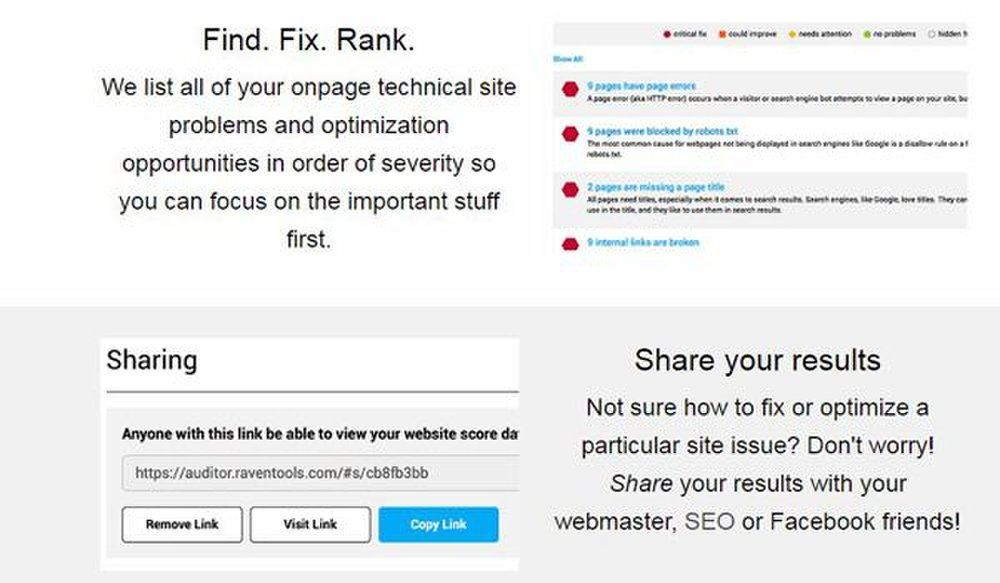 Raven Tools image: The Site Auditor lists all of the SEO problems in order of severity so you can fix the most important things first.