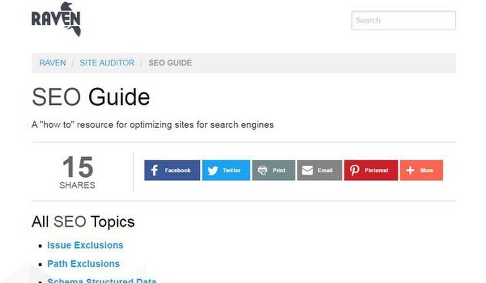 Raven Tools image: The Raven website provides a guide to help you understand different SEO topics.
