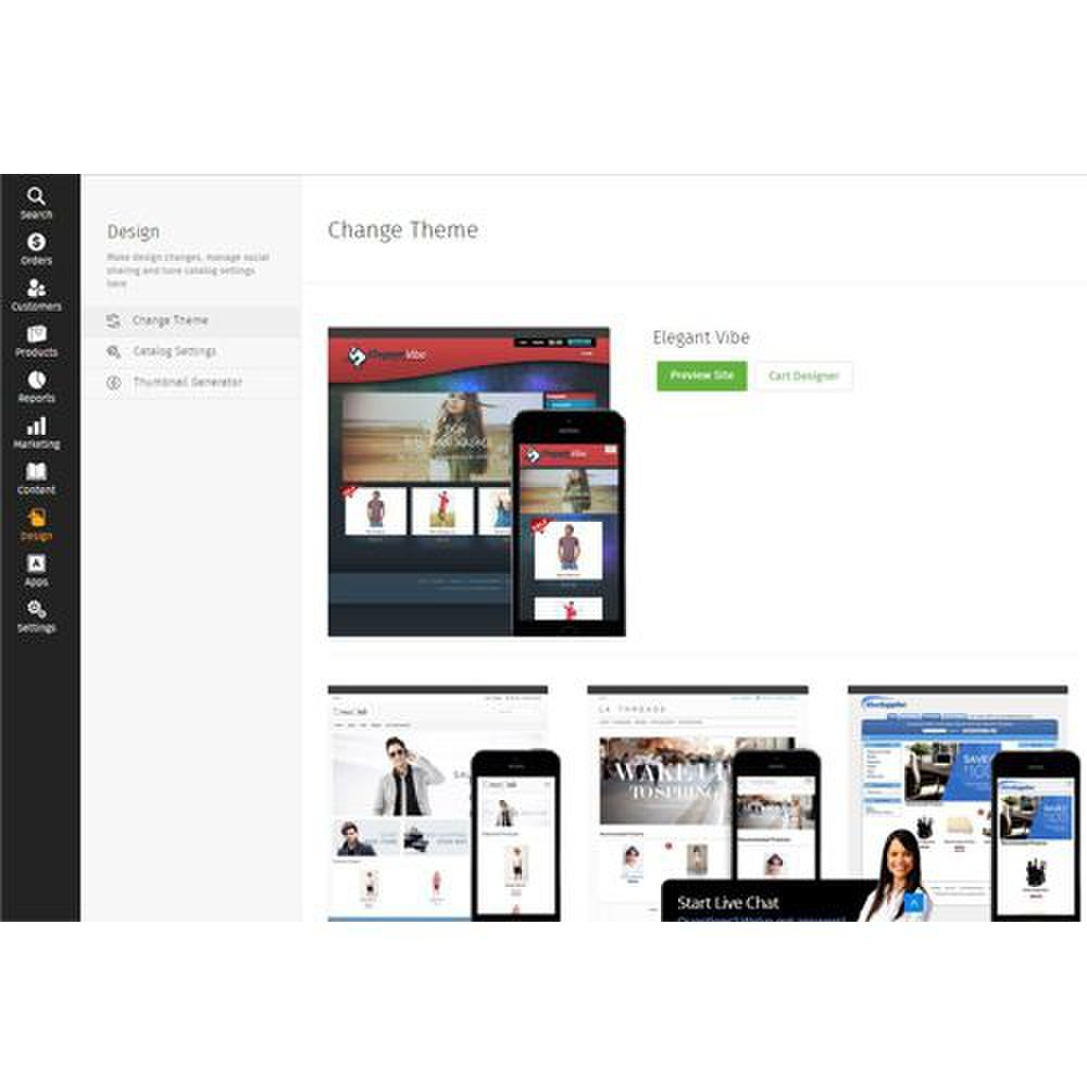 Pinnacle Cart image: You can choose from more than 30 free templates for your website.
