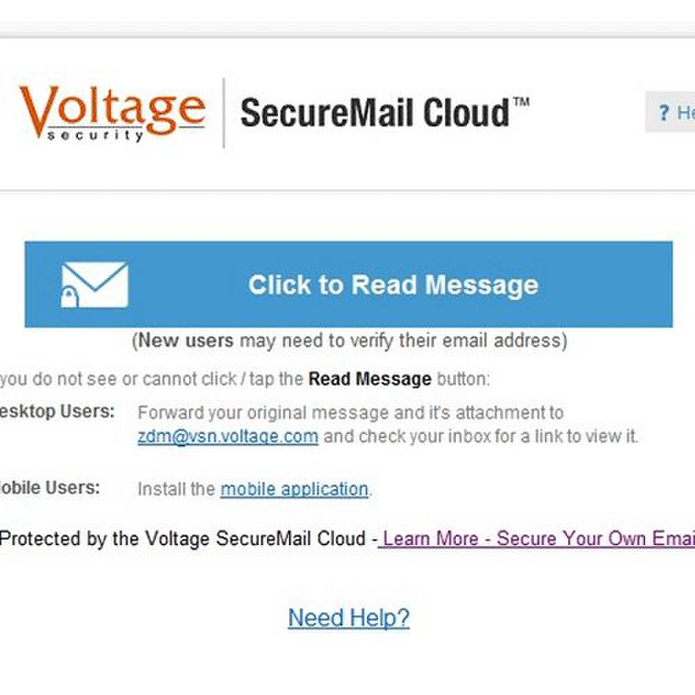 HP SecureMail image: This image displays the new encrypted message alert.