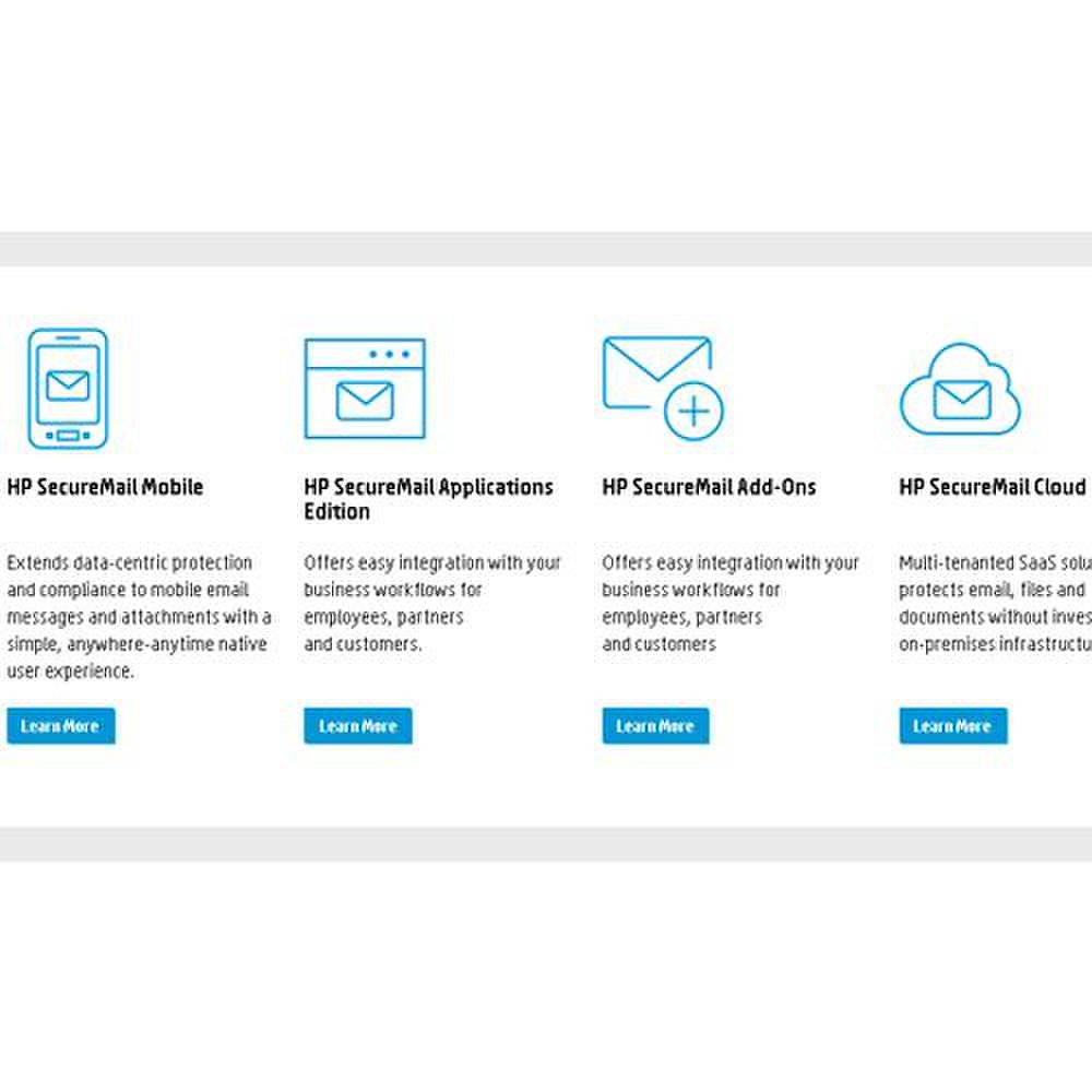HP SecureMail image: SecureMail offers mobile security and cloud-based service as well as integration with your business applications.