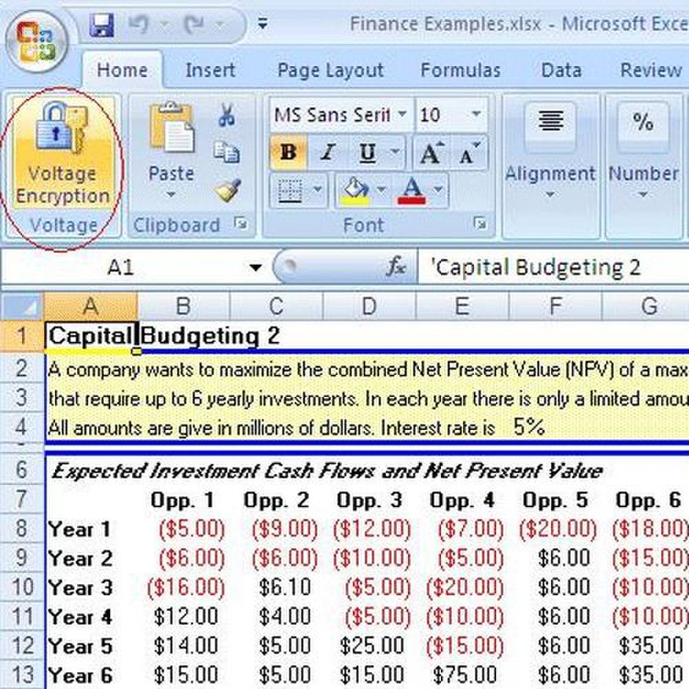 HP SecureMail image: This image shows the ability to encrypt sensitive office documents, like spreadsheets.