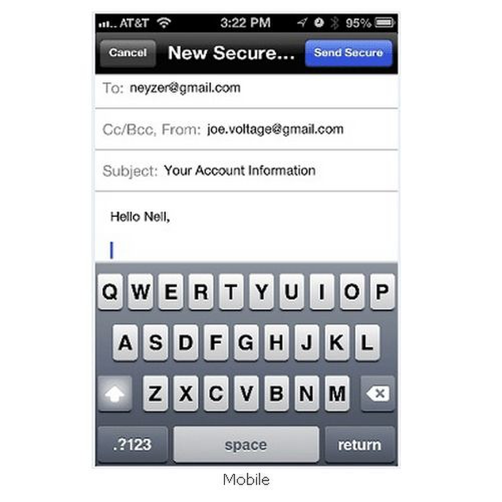 HP SecureMail image: Using your mobile device, you can encrypt messages on the go.