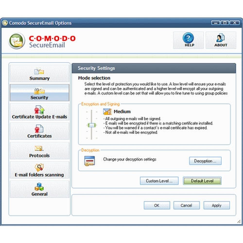 Comodo image: This screenshot shows the security setting's slider control.
