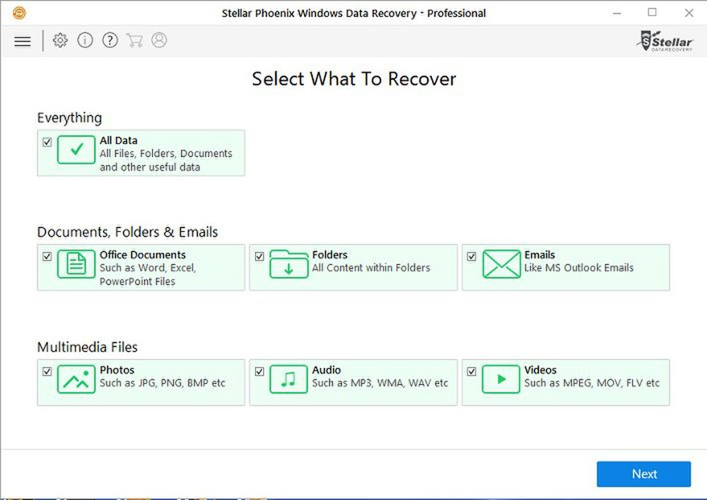 Stellar Phoenix Data Recovery lets you scan your drive for specific file types.