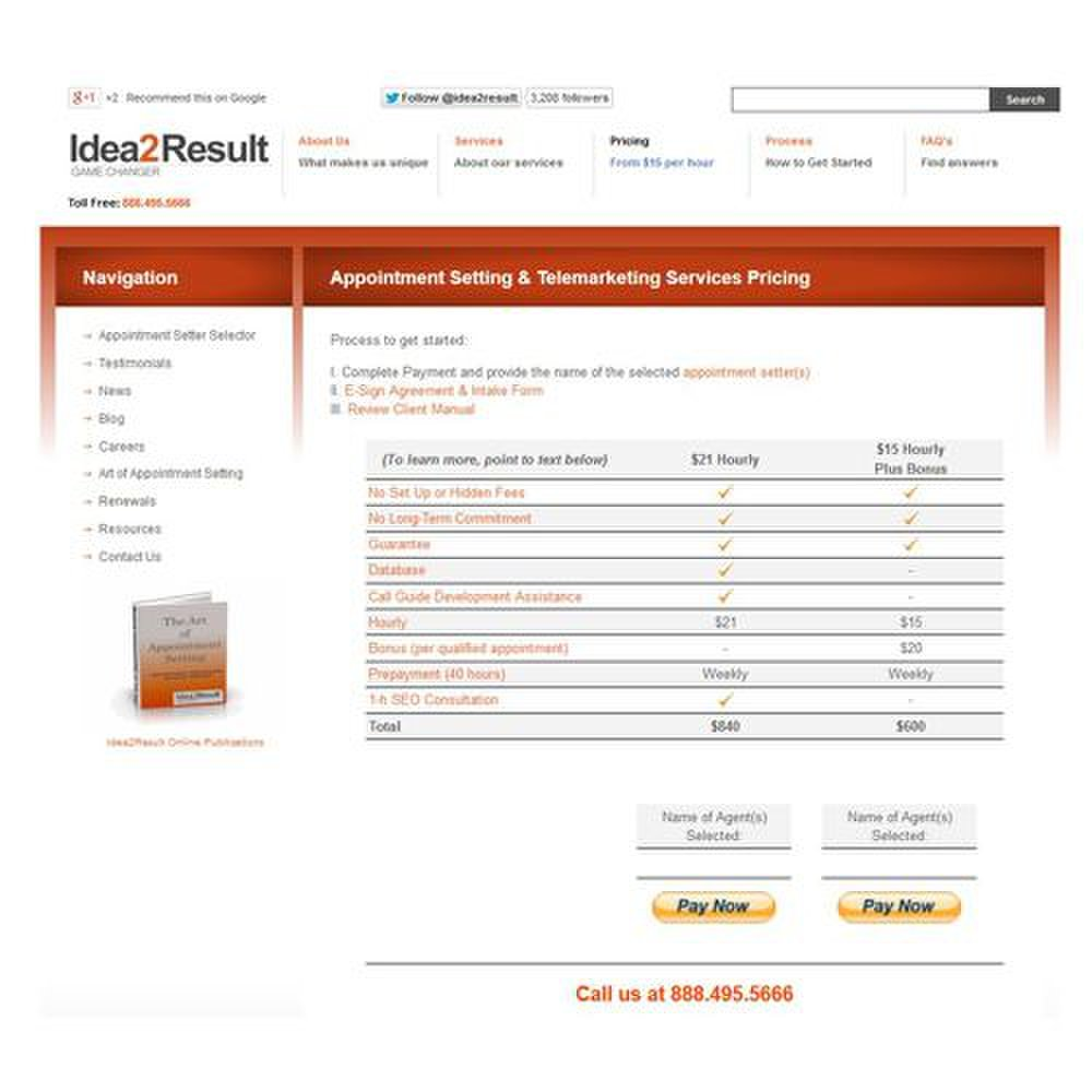 Idea2Result image: This B2B lead generation service posts its prices on its website.