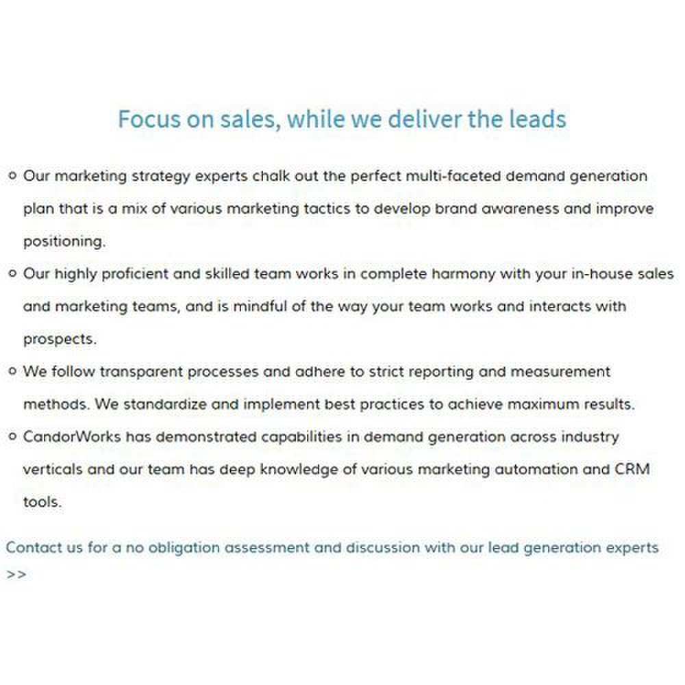 CandorWorks image: This company provides lead generation and nurturing services that help your in-house sales team close deals.