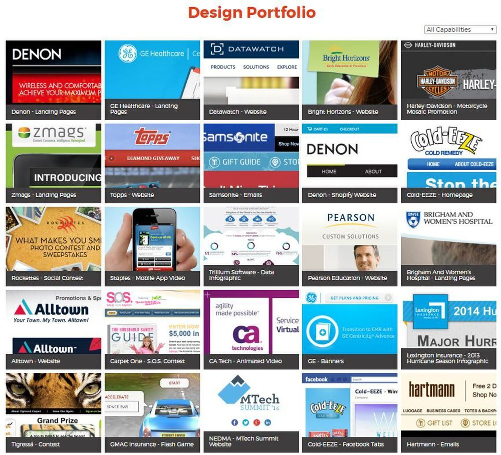 Overdrive image: The company's online design portfolio provides examples of the work it has done for other clients.