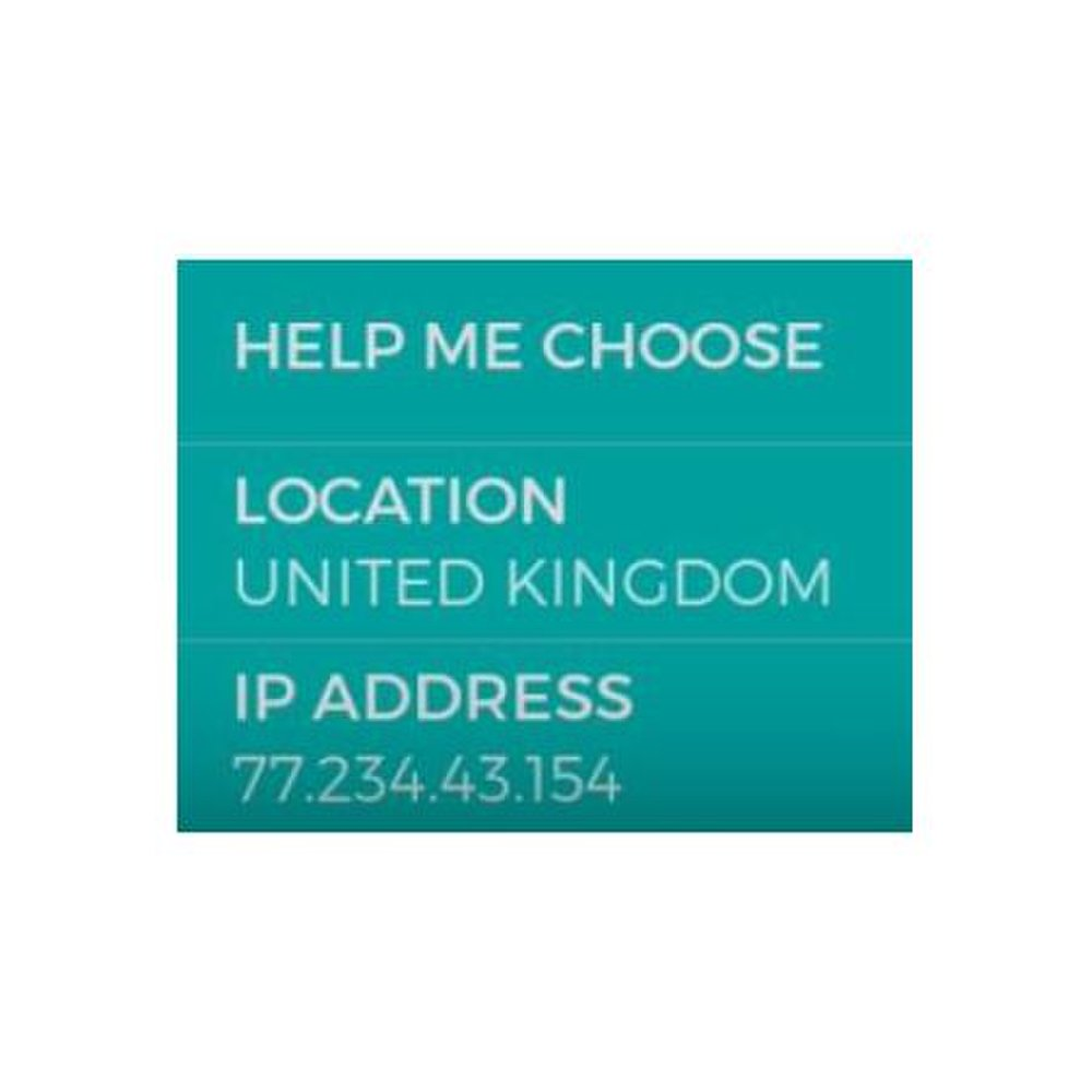 HMA helps you choose a location and server.