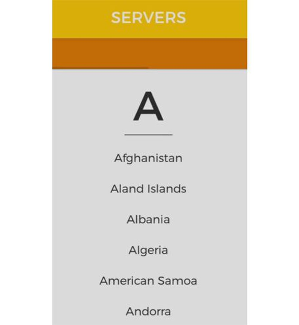 Clicking on a country brings up a list of the Hide My Ass VPN servers available there.