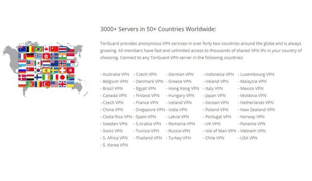 TorGuard has over 3,000 servers in 50 countries.