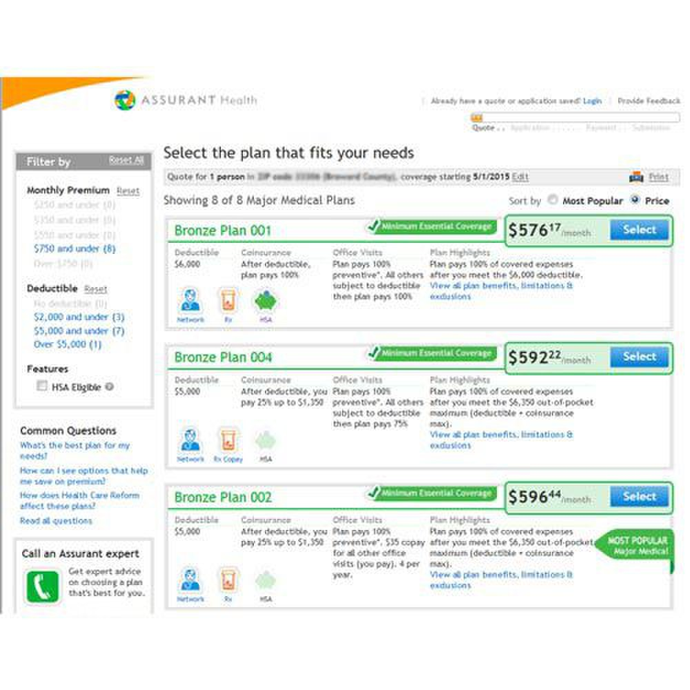 Assurant image: You can sort the offered plans by price or popularity, and use the filters to narrow your search.