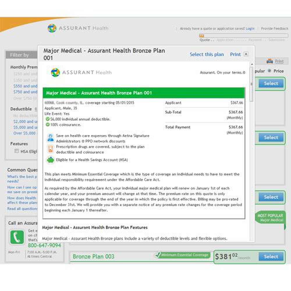 Assurant image: You can see details of individual plans as well as a general overview of your options.