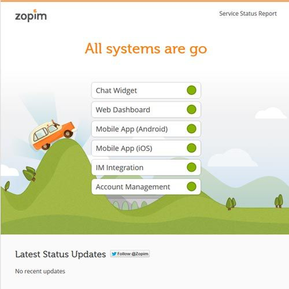 Zopim image: You can check on the status of the Zopim tools by looking at this simple Service Status Report.