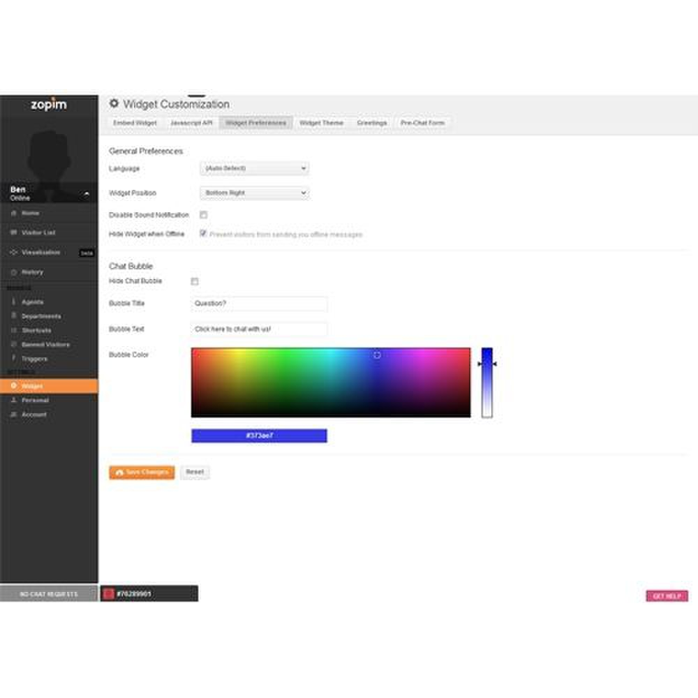 Zopim image: On the Widget Customization page, you can set your general preferences and colors.